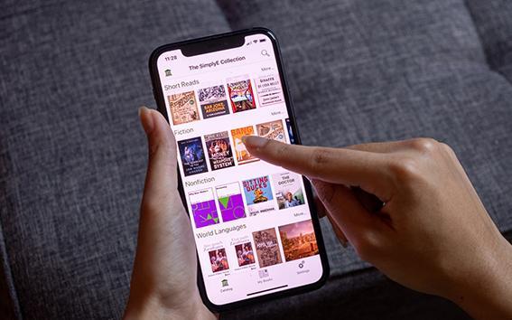 Closeup of SimplyE interface on a phone screen.